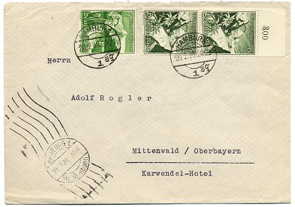 "Inter-City-Letter (""Fernbrief"") posted to Mittenwald on 20. February 1939"