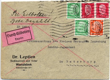 Express letter posted to Ratzeburg on 11. July 1933