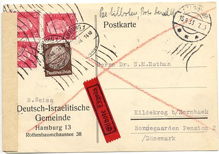 "Foreign-Letter (""Auslandsbrief"") posted to Copenhagen on 22. August 1931"