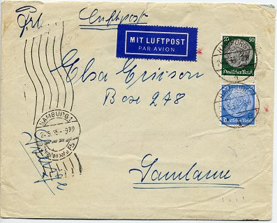 "Foreign letter (""Auslandsbrief"") posted to Sandaun / Sweden on 25. May 1935"