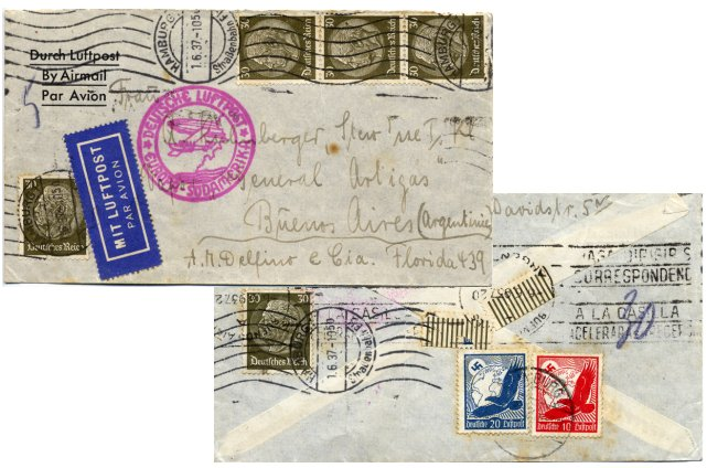 "Foreign letter (""Auslandsbrief"") posted to Buenos Aires / Argentina on 1. May 1937"